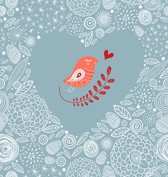 Decorative heart with a bird vector image