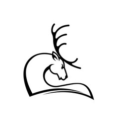 deer profile isolated hunting club logo vector image