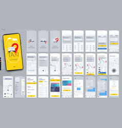design mobile application ui ux set of vector image