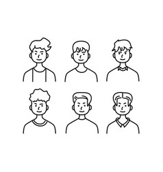 Doodle set avatar male character eps 10 vector