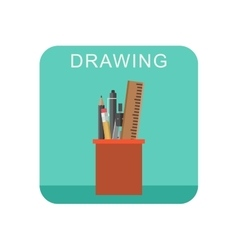 Drawing flat icon vector image vector image