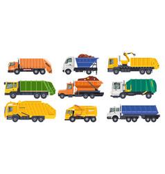 dump trucks loaders or dumpers and haul lorries vector image