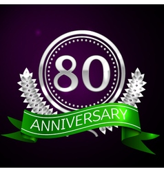 Eighty years anniversary celebration with silver vector image