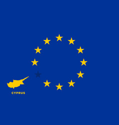 eu flag with cyprus country european union vector image