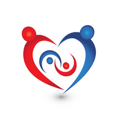 Family union in a heart icon logo vector