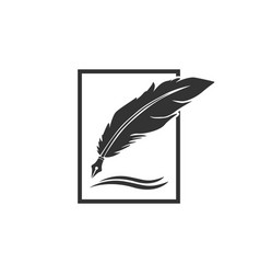 feather pen logo designs vector image