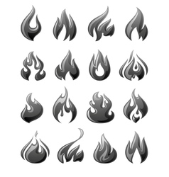 fire flames set 3d gray icons vector image