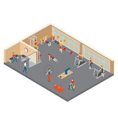 fitness hall isometric composition vector image
