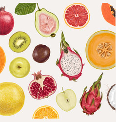 Fresh juicy collection fruits vector