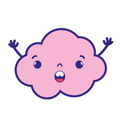 Full color surprised and cute cloud kawaii weather vector
