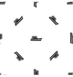 Great powerboat pattern seamless black vector