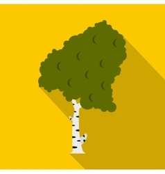 Green birch icon flat style vector