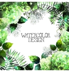 Green watercolor hydrangea design vector image