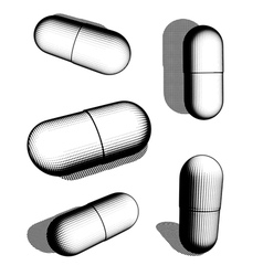 Halftone graphical black and white pill collection vector