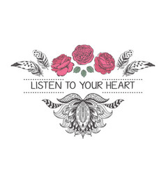 Hand drawn boho style design with rose flower and vector