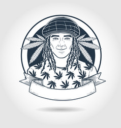 Hand drawn sketch rastaman vector