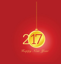 happy new year 2017 with christmas ball in vector image