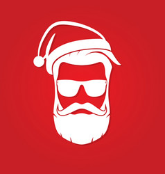 Hipster santa claus with cool beard and sunglasses vector