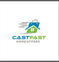 Home offers logo cast fast design stock b vector