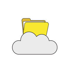 Icon concept opened folder on cloud vector