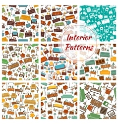 Interior patterns set of furniture icons vector