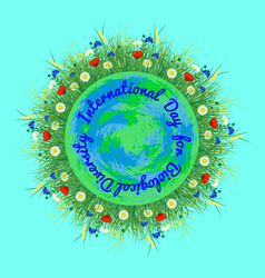 international day for biological diversity planet vector image