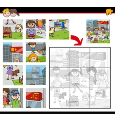 Jigsaw puzzle game with kids vector