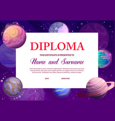 Kids diploma with space planets award certificate vector