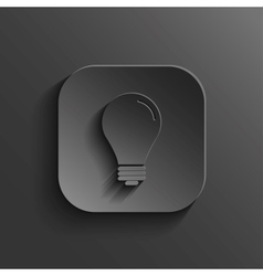Light bulb icon - black app button vector image