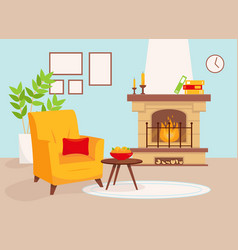 living room with fireplace and yellow armchair vector image