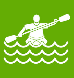 male athlete in a canoe icon green vector image