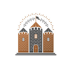 medieval fortress decorative isolated retro vector image