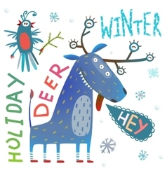 Monster reindeer Chrismas New Year funny winter vector