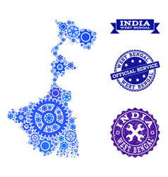 Mosaic map of west bengal state with cogs and vector