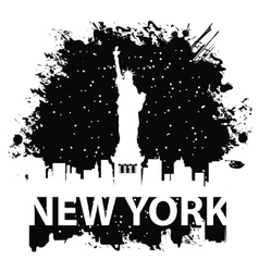 New York City and Statue of Liberty at night vector