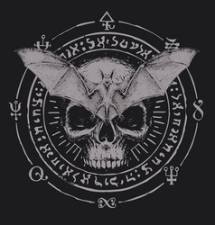 occult hand-drawn banner with bat and human skull vector image