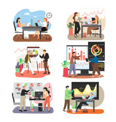 office scene set with business people working vector image