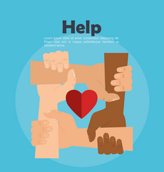 people hands with heart help vector image