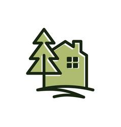 Pine house vector