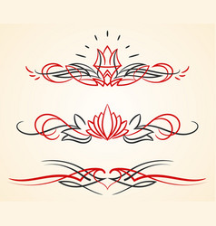 Pinstriping flourish ornaments set vector