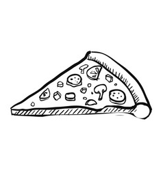 pizza slice handdrawn vector image