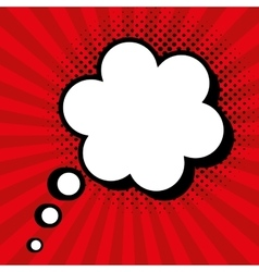 pop art cloud speak red background design vector image