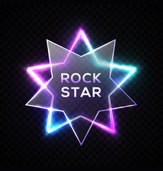 rock star neon sign night rock music signboard vector image