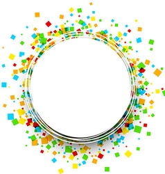Round background with colour squares vector image