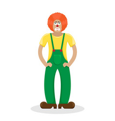 sad clown in a red wig vector image