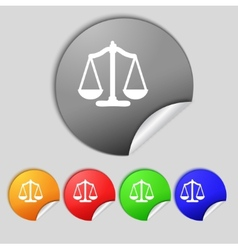 Scales of Justice sign icon Court law symbol Set vector image