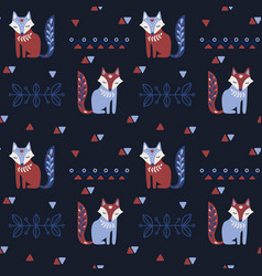 scandinavian seamless folk pattern with fox vector image