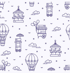 seamless pattern with amusement park attractions vector image