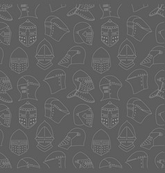 Seamless pattern with medieval military helmets vector