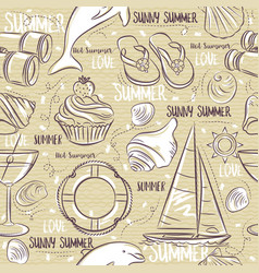 seamless patterns with summer symbols boat vector image